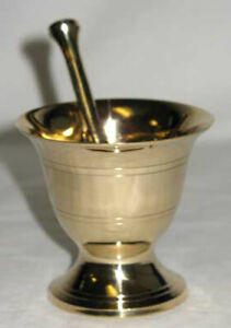 Brass Mortar & Pestle Set Wicca Pagan Alchemy Incense Herbs Ritual Craft 2 3/4