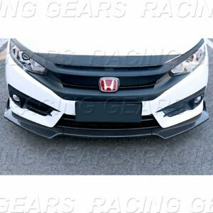 FIT 2016 2020 HONDA CIVIC CARBON LOOK FRONT BODY KIT BUMPER SPOILER LIP 3 PIECE