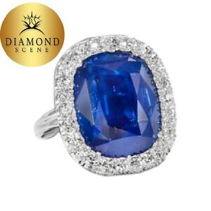 GIA certified 15.02 carat Cushion cut Burma Blue Sapphire 100% natural gemstone