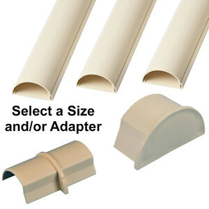 30mm x 15mm Magnolia Round D Trunking & Adapters–ADHESIVE BACKED–Cable Conduit