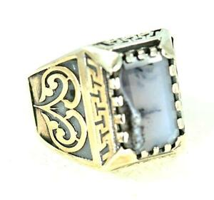 GENUINE DENDRITIC AGATE VICTORIAN DESIGN 925 STERLING SILVER MENS RING #0120