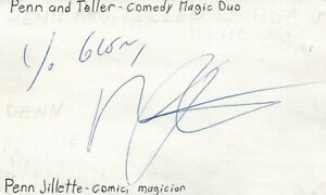 Penn Jillette Comedian Magician Penn and Teller Autographed Signed Index Card