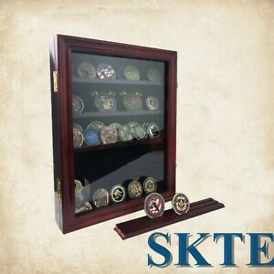 Military Challenge Coins Display Holder Stand Rack Box With Closable Glass Door