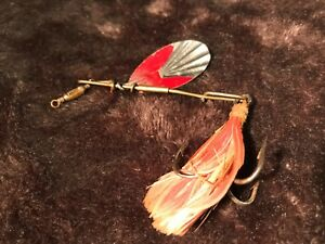 OLD COLLECTABLE LURE VINTAGE FISHING TACKLE G. M. SKINNER SPINNER FEATHERED HOOK