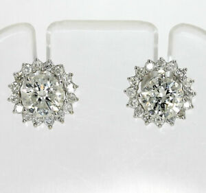 Diamond stud earring jackets 14K white gold round brilliant halo .40CT 6.8MM ID