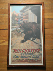 Vintage WINCHESTER Ad POSTER 401 Caliber Auto Loading Rifle FRAMED 1960s