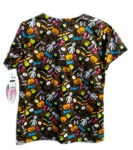 Scrub Top Halloween Trick Or Treat Cat Mummy Pumpkin S V Neck Medical Women New