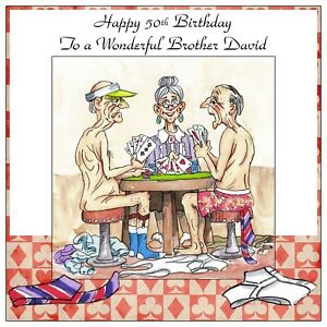 Mens Handmade Personalised Birthday Card  ANY AGE Strip Poker Card Game Funny