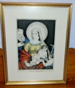 Framed Antique N. Currier Lithograph Holy Family Excellent Condition $199.99