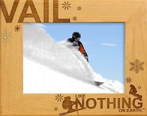 Vail Colorado with Skier Laser Engraved Wood Picture Frame 5 x 7