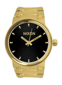 Nixon A160510 Cannon Black Analog Dial All Gold Steel Bracelet Men Watch NEW