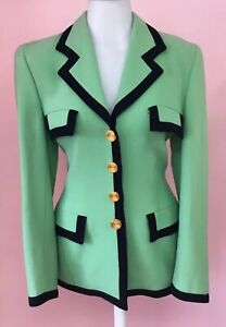 ESCADA 34 4 Pretty Colorblock Black Green Designer Womens Vintage Jacket  Blazer