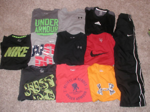 Lot of 10 Boys Youth Size L Nike Dri-FitUnder ArmourAdidas Shirts + Sweatpants