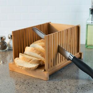Bamboo Wooden Foldable Bread Slicer Perfect Even Sliced Homemade Bread Loaf