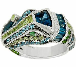 JUDITH RIPKA STERLING  5.95 CT GEMSTONE CARMEN CROCODILE SIZE 5 RING QVC $632