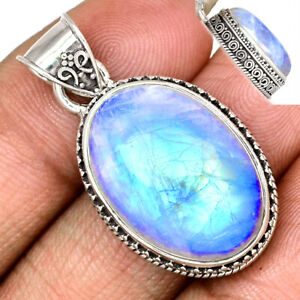 12g Blue Fire Moonstone 925 Sterling Silver Pendant Jewelry BFMP2588