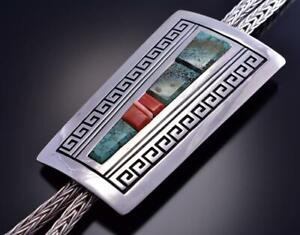 Collectible Silver & Turquoise Navajo Inlay Large Bolo Tie by Mary Teller C1915N
