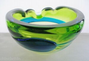 Spectacular SPECIAL Mid Century MODERN Art GLASS Ashtray or BOWL Rare SCULPTURE
