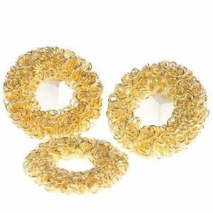 Group of 36 Metallic Gold Wired Wreath Charms for Creating Jewelry, Embellishing