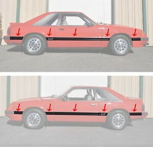 1985-1986 Mustang GT 10 Piece Body Front Quarter Side Moldings Mouldings Kit