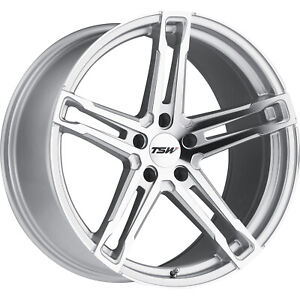 20x10.5 Silver TSW Mechanica Wheels 5x4.5 +25 Fits Ford Mustang
