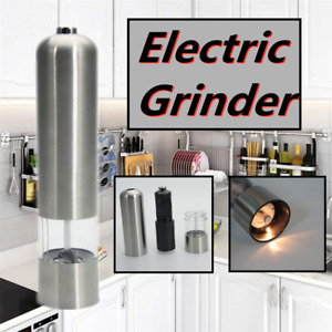 Electric Automatic Grinder Pepper Mill Salt Durable Stainless Steel Silver