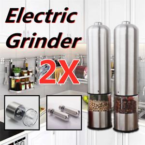 2X Electric Grinder 2PCS Automatic Pepper Mill Salt Stainless Steel