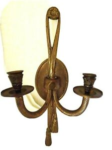14 1 2quot; TALL SOLID BRASS WALL CANDLE HOLDER SCONCE ORNATE FOR 2 1quot; TAPERS $20.00