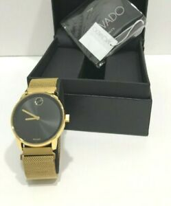 Movado Bold Gold Dial Ion Mesh Bracelet Women's Watch Stainless Steel Case Swiss