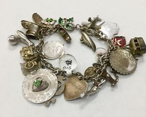 925 Sterling Silver Charm Bracelet w Florida Crew Ship and Airplane