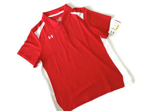 Under Armour women's Red & white Colorblock short sleeve Golf Shirt size Large L $40.45