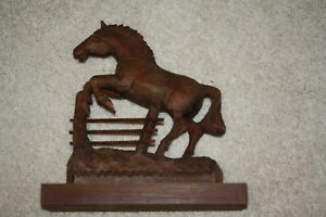 Large Vintage Brown Wood Carving Jumping Fence Horse Sculpture Art Home Decor
