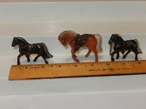 "Vintage Japan Metal Horses Lot Of 3 2 to 2 1 2"" Tall $12.99"