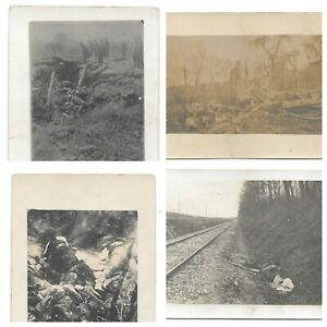 RPPC Real Person Postcard Dead Soldier WWI Argonne Woods Aeroplane Wreck Germany