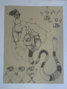 Modern Abstract Ltd Ed Artist Signed And Titled Etching Style of Salvador Dali
