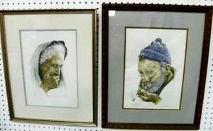 Pr. Antique Signed AP  Lithographs of Two Wise & Wizened Elderly People