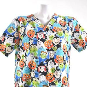 Cherokee Halloween Small Trick Treat Boo Pumpkins Ghosts Scrub Top