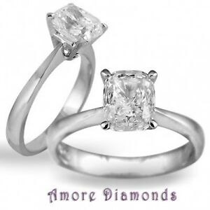 2 12 CT G SI1 NATURAL CUSHION DIAMOND SOLITAIRE ENGAGEMENT RING PLATINUM SIZE 5