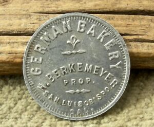 ca 1900s SAN LUIS OBISPO CALIFORNIA RARE R10 GERMAN BAKERY GLASS OF SODA TOKEN