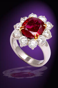 No Heat Burma Ruby Diamond Ring