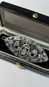 Edwardian Vintage Diamond Brooch Pin Pendant Antique in Platinum