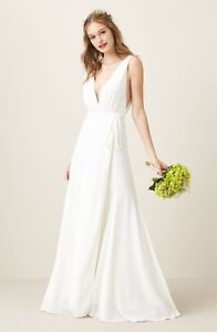 JOANNA AUGUST White JAGGER Plunging Wrap Crepe Bridal Wedding Gown LARGE 1012