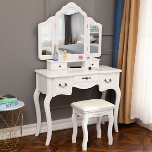 White Tri Folding Mirror Wood Vanity Makeup Table Set with Stool