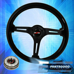 Black Wood Black Center Deep Dish Steering Wheel w Gunmetal Slim Quick Release