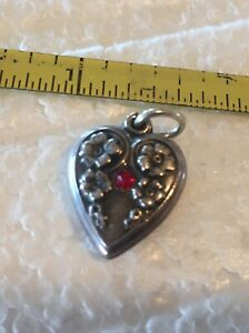 VINTAGE STERLING SILVER PUFFY HEART CHARM VICTORIAN GYPSY STAR SET REd GEM