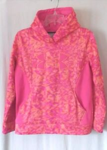 Under Armour Hoodie Girls YLG Pink Orange Jacket Pullover Youth Large $9.99
