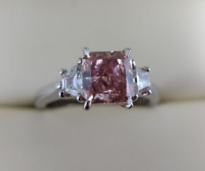 1.77 ct GIA fancy orangy pink cut cornered square modified diamond 3 stone ring