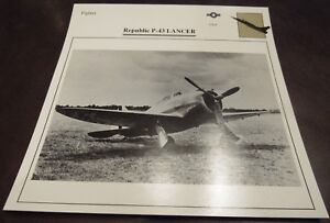Republic P-43 LANCER Military Airplane Photo Card w/ Specifications