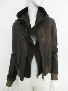 STUNNING WOMEN ALL SAINTS CLYDE LEATHER JACKET BIKER BOMBER HOODIE BROWN 12 £295