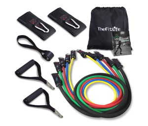 Exercise Resistance Bands with Handles - 5 Fitness Workout Bands Stackable NEW